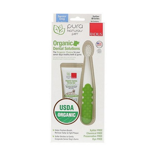 RADIUS, Organic Dental Solutions, Softer Bristles, Senior Dog, 8+ Years, 1 Toothbrush + .8 oz Tooth Gel