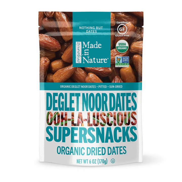 Made in Nature, Organic Dried Deglet Noor Dates, Ooh-La-Luscious Supernacks, 6 oz (170 g)