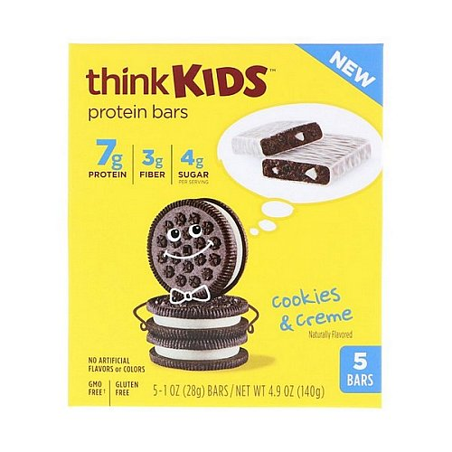 ThinkThin, ThinkKids, Protein Bars, Cookies & Creme, 5 Bars, 1 oz (28 g) Each
