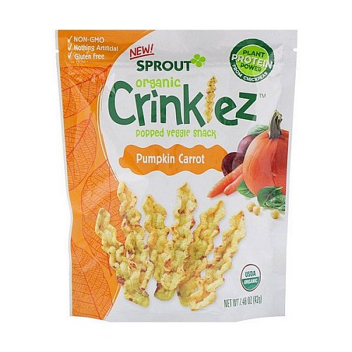 Sprout Organic, Crinklez, Popped Veggie Snack, Pumpkin Carrot, 1.48 oz (42 g)