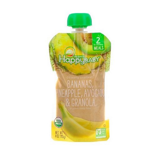 Happy Family Organics, Organic Baby Food, Stage 2, Clearly Crafted, Bananas, Pineapple, Avocado & Granola, 6+ Months, 4 oz (113 g)