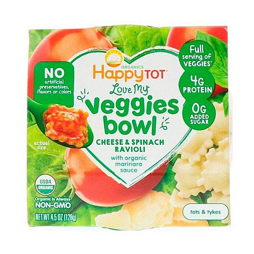Happy Family Organics, Organics Happy Tot, Love My Veggies Bowl, Cheese & Spinach Ravioli, 4.5 oz (128 g)