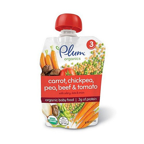 Plum Organics, Organic Baby Food, Stage 3, Carrot, Chickpea, Pea, Beef & Tomato, 4 oz (113 g)