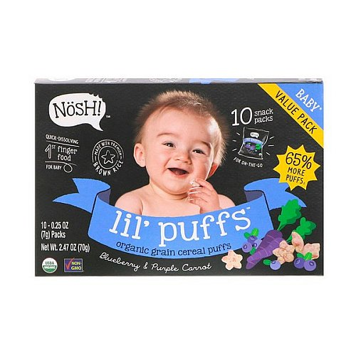 NosH!, Baby Lil' Puffs, Organic Grain Cereal Puffs, Blueberry & Purple Carrot, 10 Packs, 0.25 oz (7 g) Each