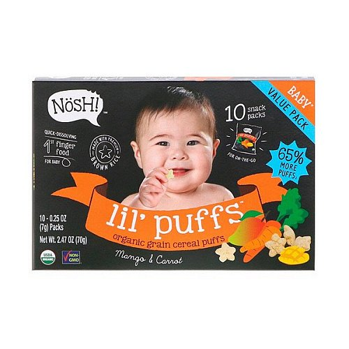 NosH!, Baby Lil' Puffs, Organic Grain Cereal Puffs, Mango & Carrot, 10 Packs, 0.25 oz (7 g) Each
