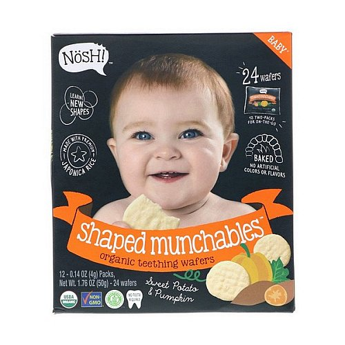 NosH!, Baby Shaped Munchables, Organic Teething Wafers, Sweet Potato & Pumpkin, 12 Packs, 0.14 oz (4 g) Each