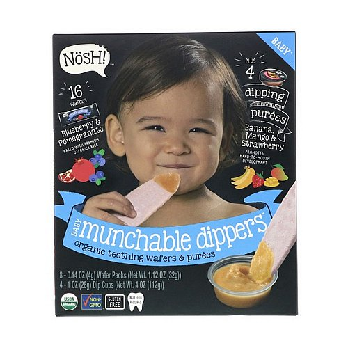 NosH!, Baby Munchable Dippers, Organic Teething Wafers & Purees, Blueberry & Pomegranate Wafers with Banana, Mango & Strawberry Purees, 8 Wafer Packs & 4 Dip Cups