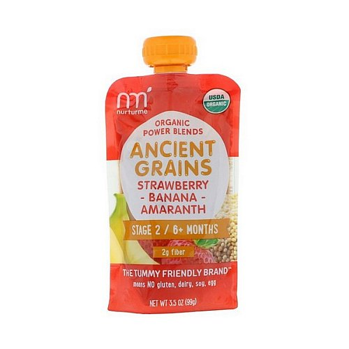 NurturMe, Organic Power Blends, Ancient Grains, Stage 2/6+ Months, Strawberry, Banana, Amaranth, 3.5 oz (99 g)