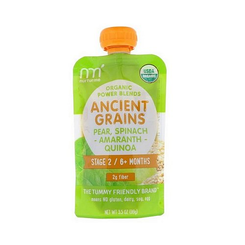NurturMe, Organic Power Blends, Ancient Grains, Stage 2/6+ Months, Pear, Spinach, Amaranth, Quinoa, 3.5 oz (99 g)
