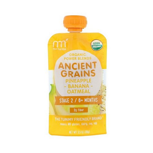 NurturMe, Organic Power Blends, Ancient Grains, Stage 2/6+ Months, Pineapple, Banana, Oatmeal, 3.5 oz (99 g)
