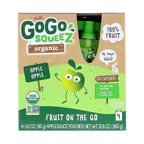 GoGo SqueeZ, Organic Applesauce, Apple Apple, 4 Pouches, 3.2 oz (90 g) Each