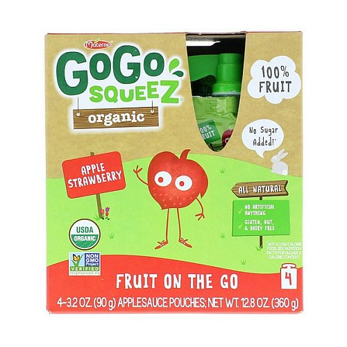 GoGo SqueeZ, Organic Applesauce, Apple Strawberry, 4 Pouches, 3.2 oz (90 g) Each