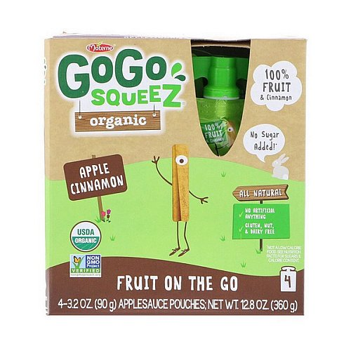 GoGo SqueeZ, Organic Applesauce, Apple Cinnamon, 4 Pouches, 3.2 oz (90 g) Each