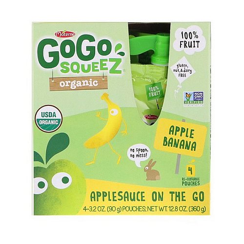 GoGo SqueeZ, Organic Applesauce, Apple Banana, 4 Pouches, 3.2 oz (90 g) Each