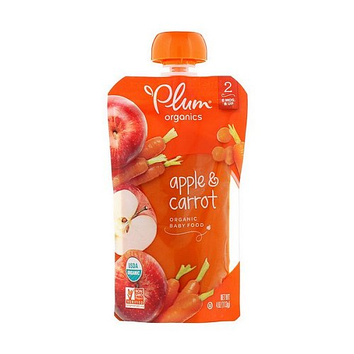 Plum Organics, Organic Baby Food, Stage 2, Apple & Carrot, 4 oz (113 g)