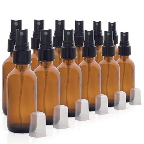 2oz Amber Glass Spray Bottles for Essential Oils - with Fine Mist Sprayers, set of 12