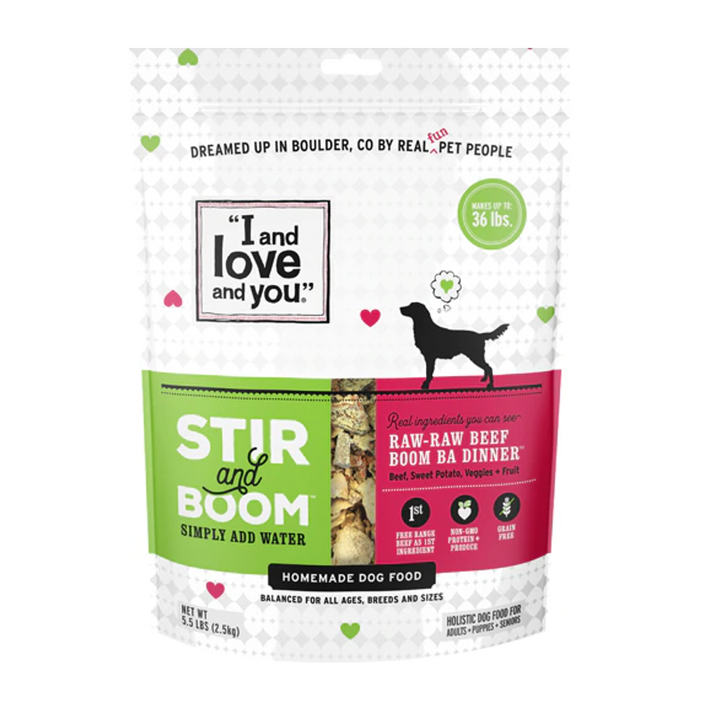 I and Love and You Raw Raw Beef Boom Ba Dinner, Grain Free Dehydrated Dog Food, 5.5 lb