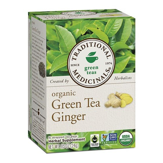 Traditional Medicinals Organic Green Tea Ginger  16 Tea Bags