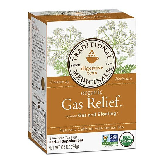 Traditional Medicinals Organic Herbal Teas Gas Relief  16 Tea Bags