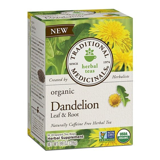 Traditional Medicinals Herbal Tea Organic Dandelion Leaf & Root  16 Tea Bags