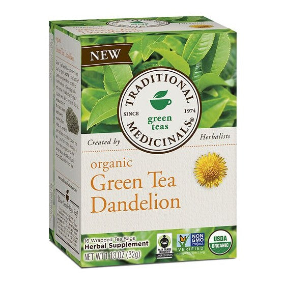 Traditional Medicinals Organic Green Tea Dandelion  16 Tea Bags