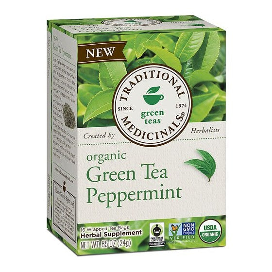 Traditional Medicinals Organic Green Tea Peppermint  16 Tea Bags