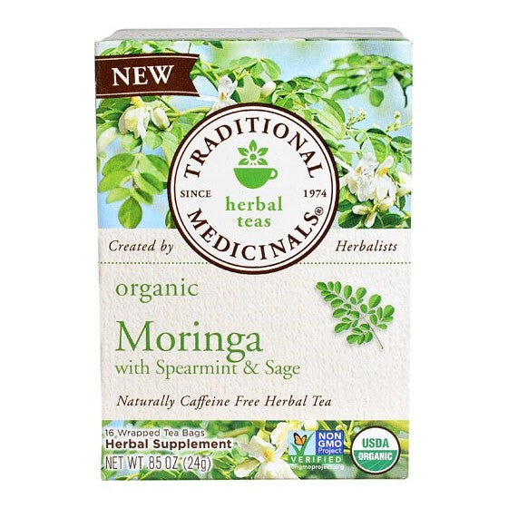 Traditional Medicinals Organic Moringa Moringa w Spearmint & Sage  16 Tea Bags