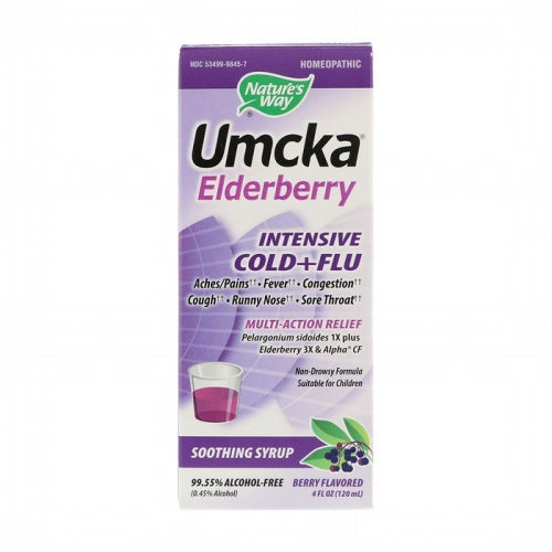 Nature's Way, Umcka Elderberry, Intensive Cold+Flu, Soothing Syrup, Berry Flavor, 4 fl oz (120 ml)