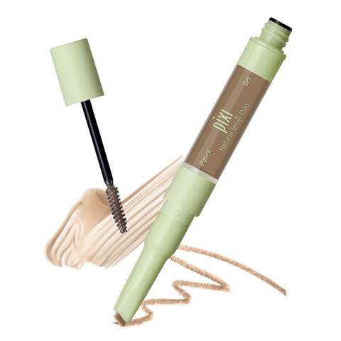 Pixi Beauty, 2-In-1 Natural Brow Duo, Waterproof Brow Pencil & Gel, Natural Brown, Pencil 0.007 oz (0.2 g) - Gel 0.084 fl oz (2.5 ml)