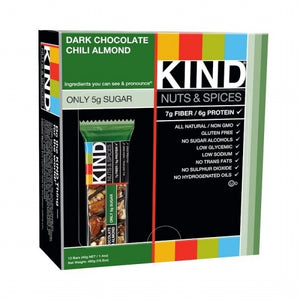 KIND Bars, Nuts & Spices, Dark Chocolate Chili Almond, 12 Bars, 1.4 oz (40 g) Each