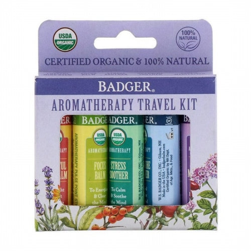 Badger Company, Organic, Aromatherapy Travel Kit, 5 Pack, .15 oz (4.3 g) Each