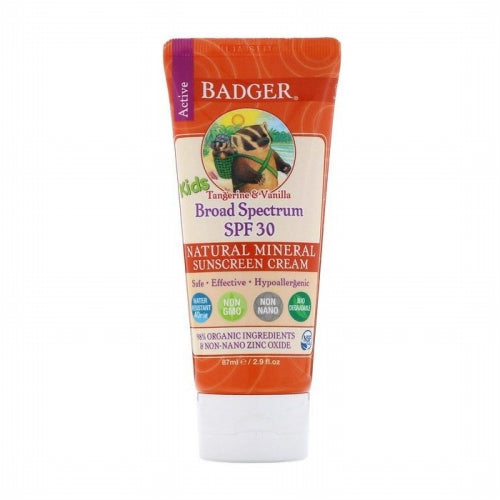 Badger Company, Active Kids, Natural Mineral Sunscreen Cream, SPF 30, Tangerine & Vanilla, 2.9 fl oz (87 ml)