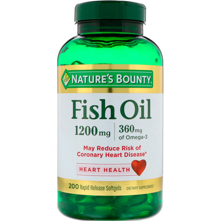 Nature's Bounty, Fish Oil, 1,200 mg, 200 Rapid Release Softgels