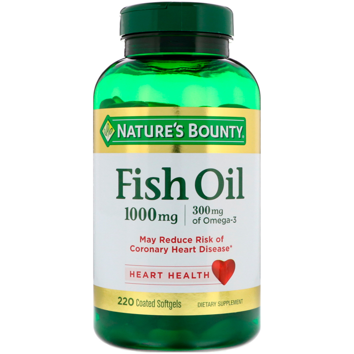 Nature's Bounty, Odor-Less Fish Oil, 1,000 mg, 220 Coated Softgels