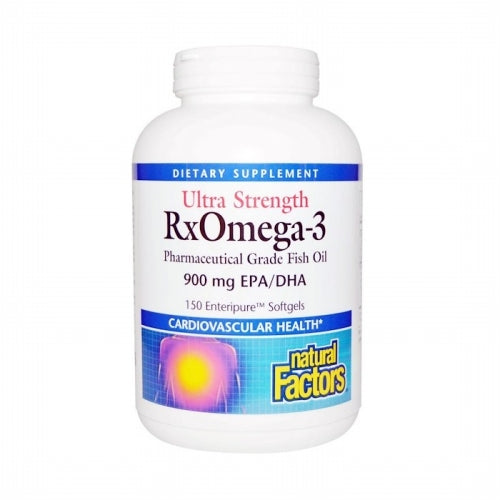 Natural Factors, Ultra Strength, RxOmega-3, 900 mg EPA/DHA, 150 Enteripure Softgels