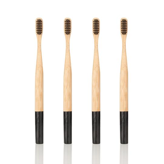Georganics PACK OF 4 BAMBOO TOOTHBRUSH - Soft Charcoal Bristles
