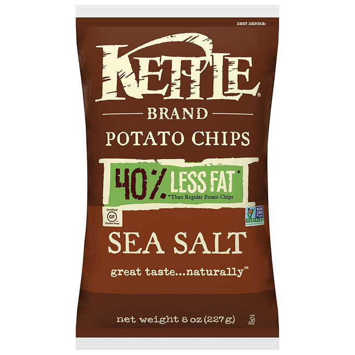 Kettle Foods, 40% Reduced Fat Sea Salt Potato Chips, 8 Oz