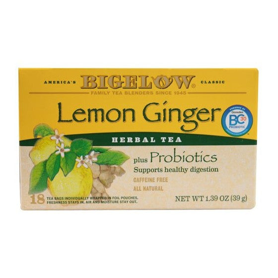 Bigelow Tea Herbal Tea Plus Probiotics Lemon Ginger  18 Tea Bags