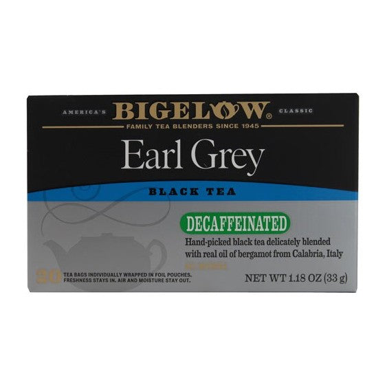 Bigelow Tea Earl Grey Black Tea Decaffeinated  20 Tea Bags
