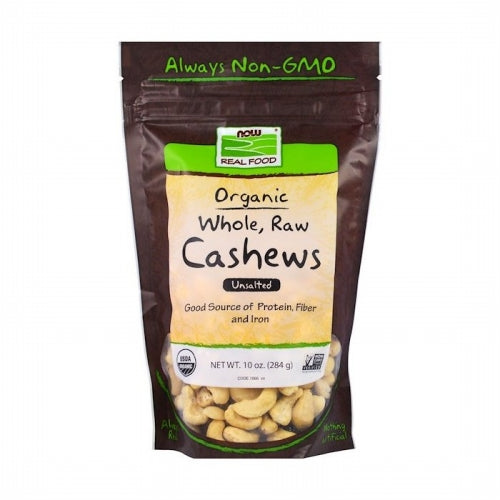 Now Foods, Real Food, Organic, Whole, Raw Cashews, Unsalted, 10 oz (284 g)