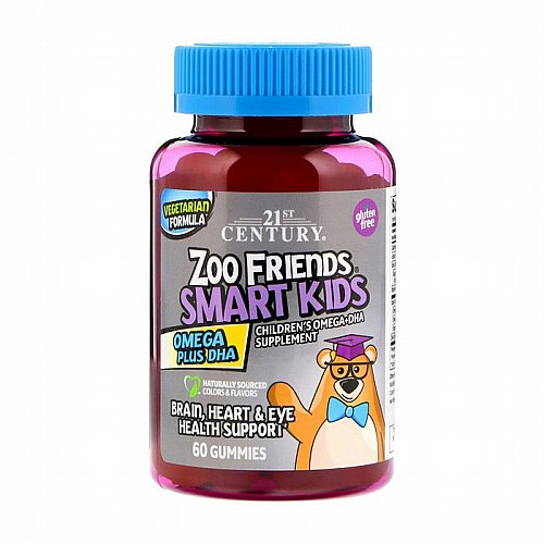 21st Century, Zoo Friends Smart Kids Omega Plus DHA, 60 Gummies