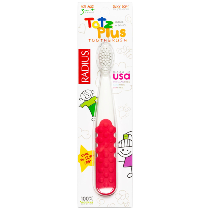 RADIUS, Totz Plus Toothbrush, 3+ Years, White/Pink Coral, 1 Toothbrush