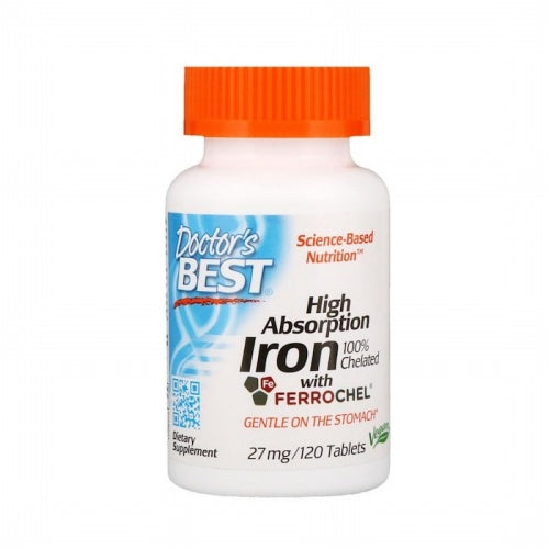 Doctor's Best, High Absorption Iron With Ferrochel, 27 mg, 120 Tablets