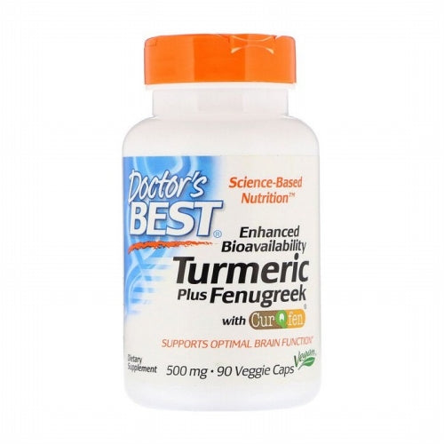 Doctor's Best, Enhanced Bioavailability Turmeric Plus Fenugreek, 500 mg, 90 Veggie Caps