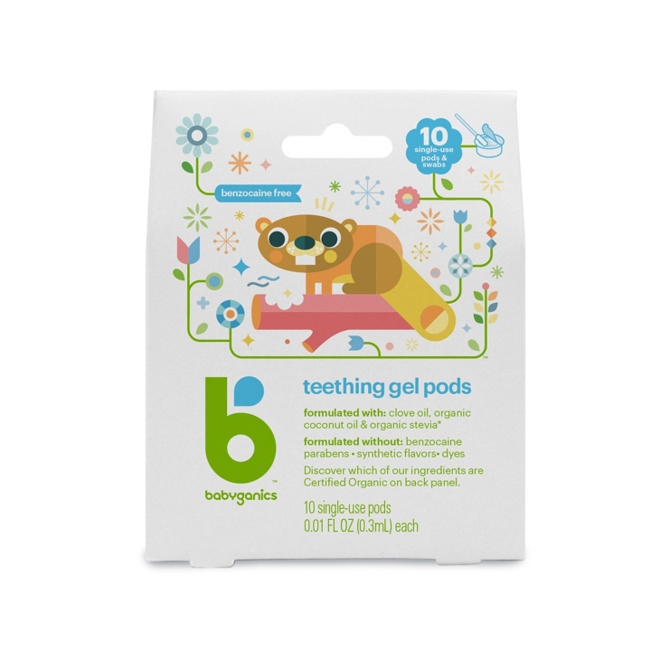 BabyGanics, Teething Gel Pods, 10 Single-Use Pods, 0.01 fl oz (0.3 ml) Each