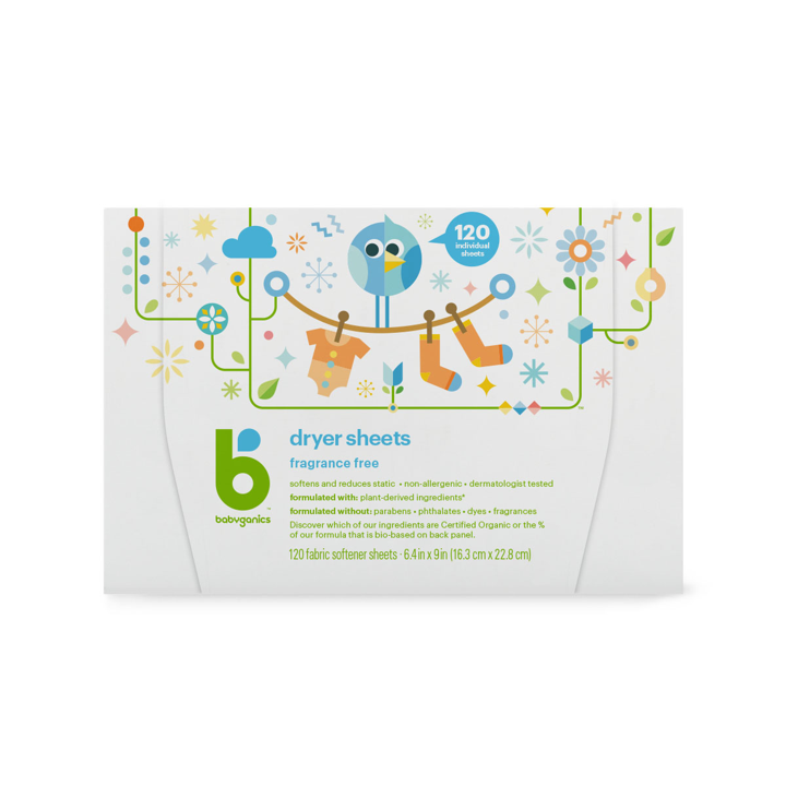 BabyGanics, Dryer Sheets, Fragrance Free, 120 Fabric Softener Sheets