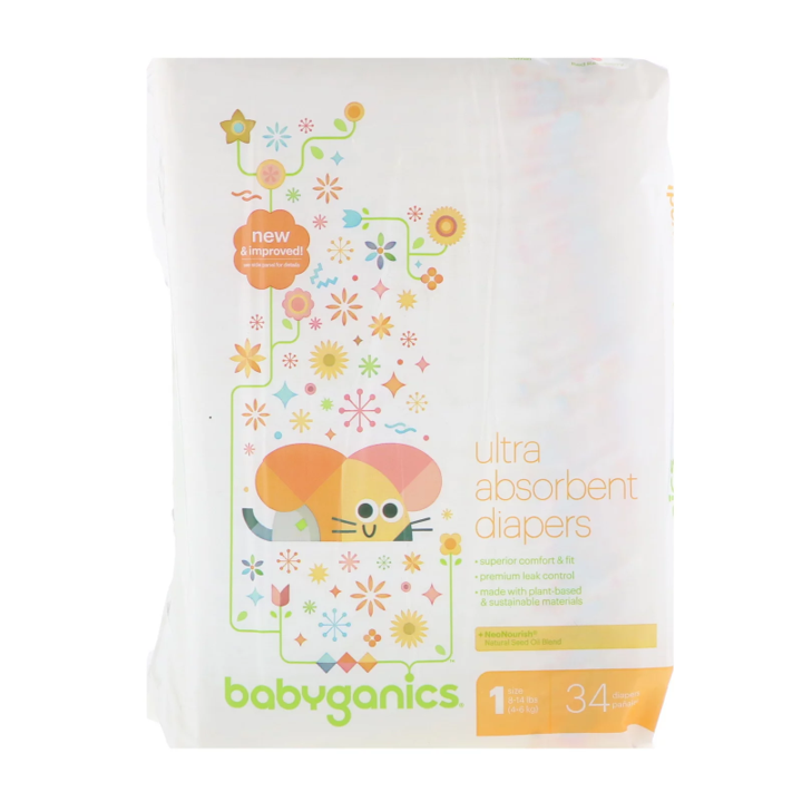 BabyGanics, Ultra Absorbent Diapers, Size 1, 8-14 lbs (4-6 kg), 34 Diapers