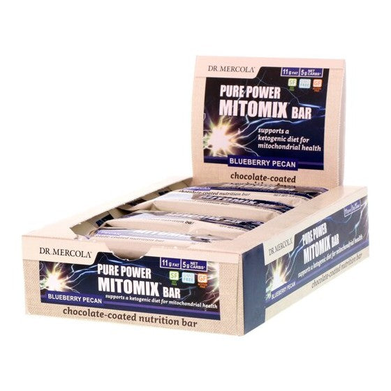 Dr. Mercola Pure Power Mitomix Bar Chocolate Coated Blueberry Pecan  12 Bars