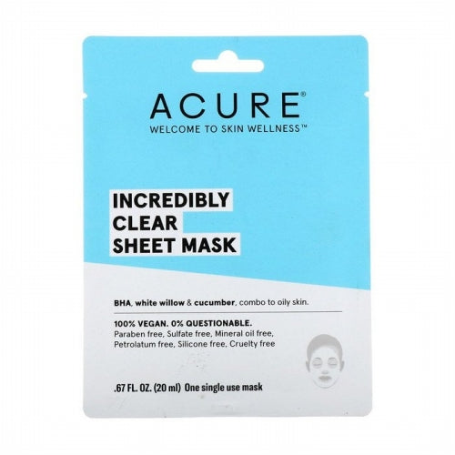 Acure, Incredibly Clear Sheet Mask, 1 Single Use Mask, 0.67 fl oz (20 ml)