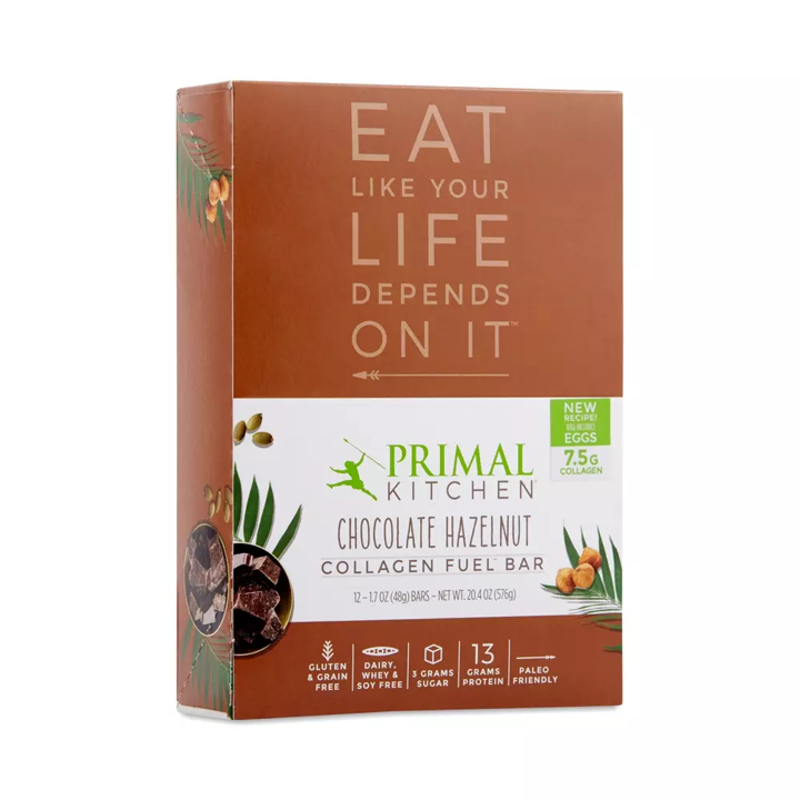 Primal Kitchen Chocolate Hazelnut Grass-Fed Collagen Bar, 12-Pack